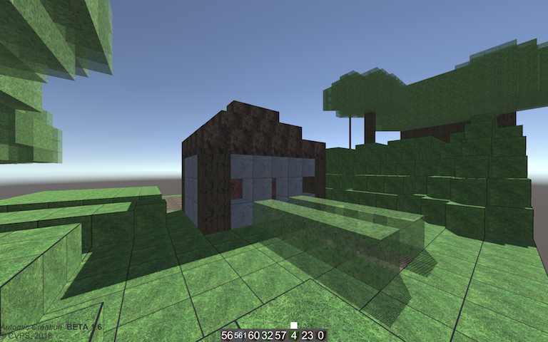Blocky virtual environment has small crude house made of natural materials