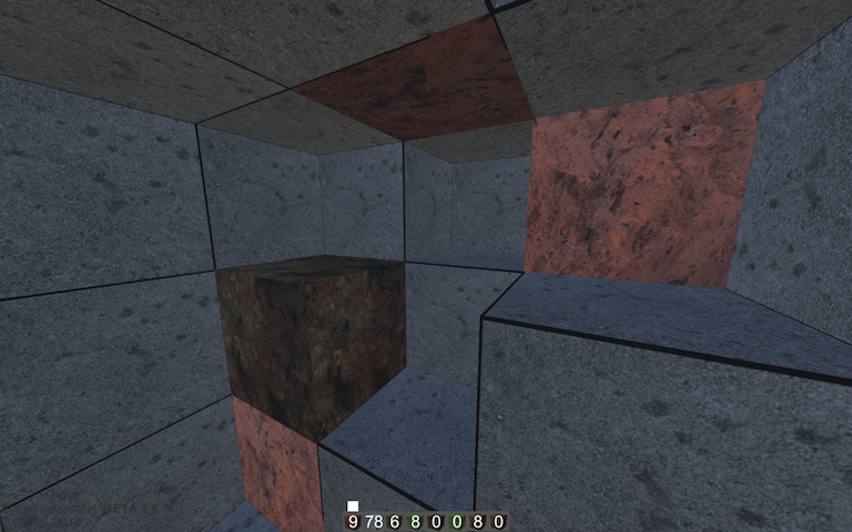 Close up blocks of virtual stone, copper, and iron in a cave environment