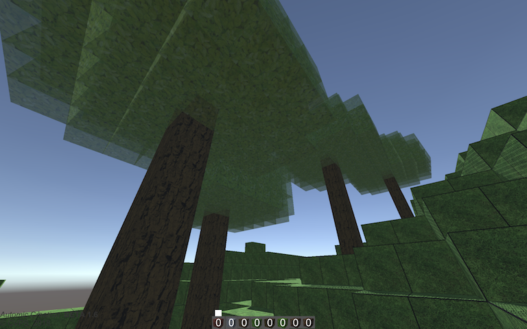 Trees in blocky virtual environment