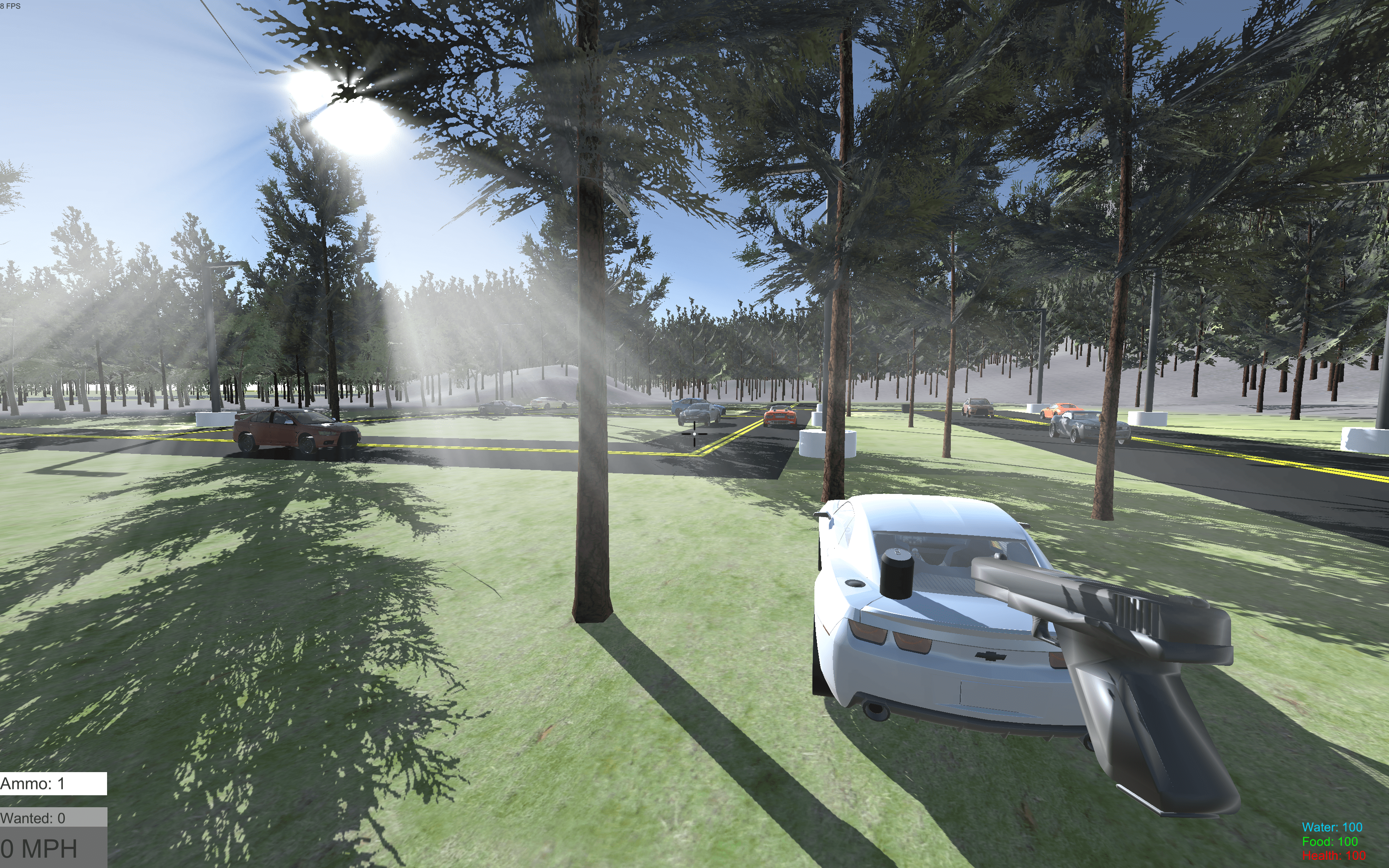 Virtual town environment with vehicles driving on roads shown from the ground through trees