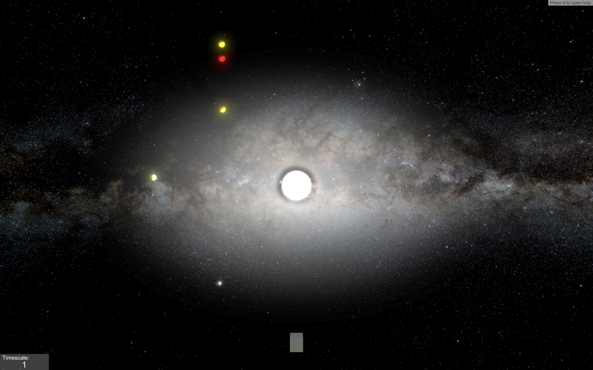 Bright virtual sun being orbited by 4 colorful planets shown from outer space