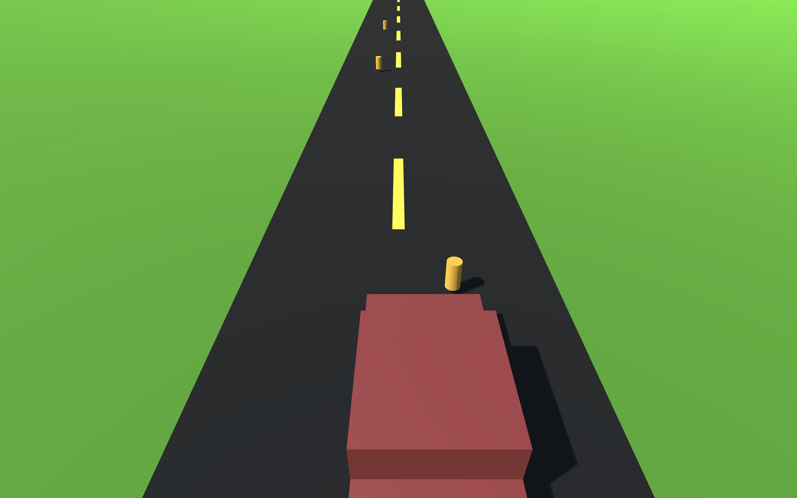 Very basic blocky virtual car drives down straight 2 lane road with occasional cones on each side